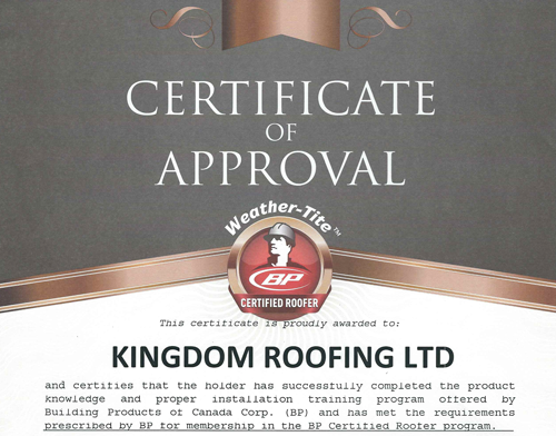 Certificate Approval – Certified Roofer