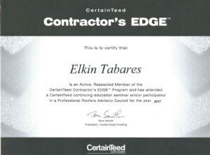 Elkin Tabares Certificate by CertaintTeed Contractor's Edge