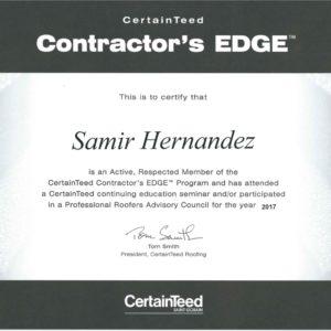 Samir Hernandez Certificate by CertaintTeed Contractor's Edge
