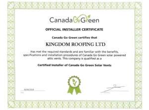 Official Installer Certificate – Canada Go Green