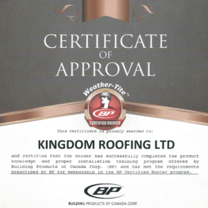 Certificate of Approval – Certified Roofer BP