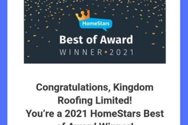 Kingdom Roofing Awarded 2021 HomeStars Best of Award Winner!