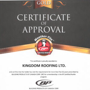 Gold Certificate of Approval
